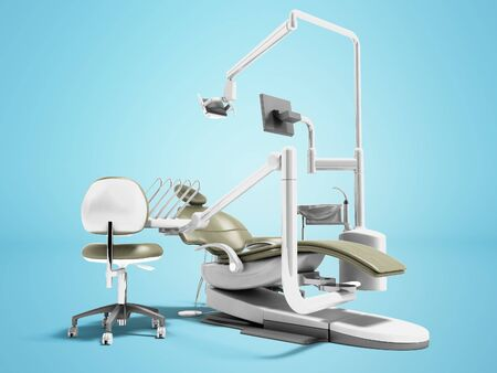 Dental unit olive chair doctor dentist and assistants chair 3d render on blue background with shadow Archivio Fotografico - 130417592
