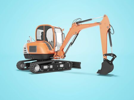 Orange mini excavator with hydraulic mechlopata with leveling bucket in motion rear view 3d render on blue background with shadow