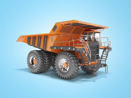 Construction machinery orange mining truck isolated 3D render on blue background with shadow Imagens