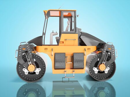 Construction machinery road roller two rolls side view 3D render on blue background with shadow