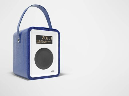 Blue portable radio column for listening to music 3D render on gray background with shadow