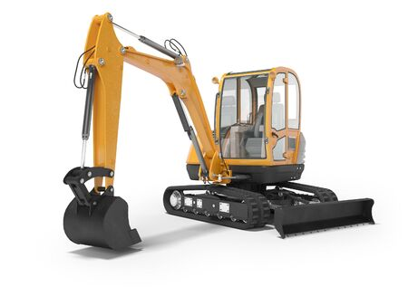 Orange mini excavator with hydraulic mechlopata with leveling bucket in motion 3d render on white background with shadow