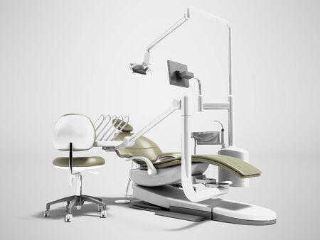 Dental unit olive chair doctor dentist and assistants chair 3d render on gray background with shadow