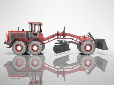 Construction machinery red grader for leveling roads for asphalting 3D render on gray background with shadow