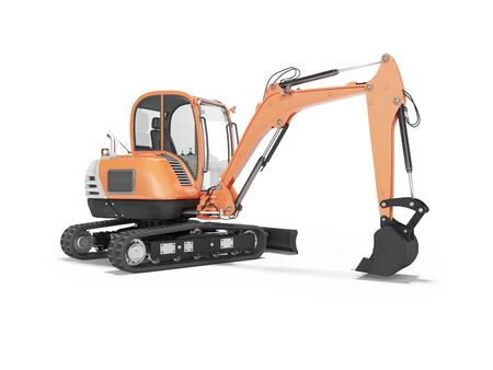 Orange mini excavator with hydraulic mechlopata with leveling bucket in motion rear view 3d render on white background with shadow Stock Photo