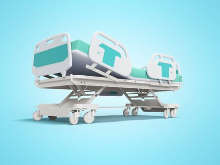 Blue hospital bed with lifting mechanism on stand alone remote control 3D render on blue background with shadow