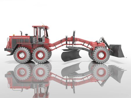 Construction machinery red grader for leveling roads for asphalting 3D render on white background with shadow