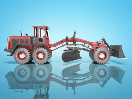 Construction machinery red grader for leveling roads for asphalting 3D render on blue background with shadow Stock Photo