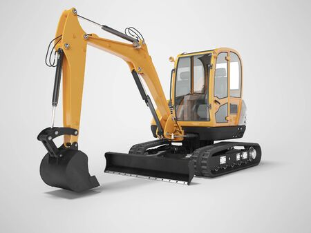 Orange mini excavator with hydraulic mechlopatoy on crawler rubber track with leveling bucket 3d render on gray background with shadow Stock Photo