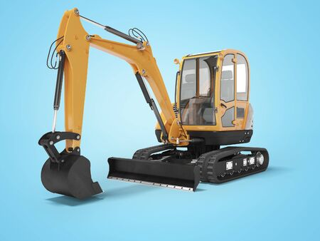 Orange mini excavator with hydraulic mechlopatoy on crawler rubber track with leveling bucket 3d render on blue background with shadow Stock Photo