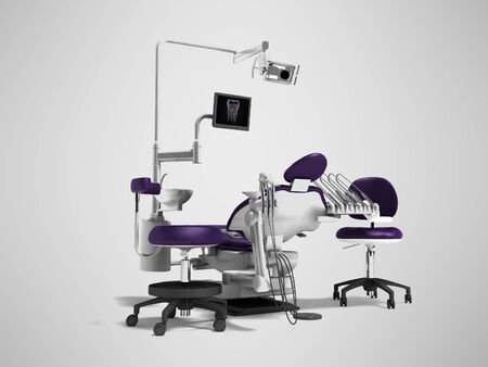 Dental unit purple chair of dentist and assistant assistants high chair 3d render on gray background with shadow
