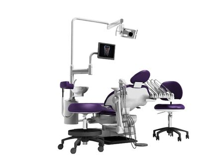 Dental unit purple chair of dentist and assistant assistants high chair 3d render on white background no shadow Stockfoto