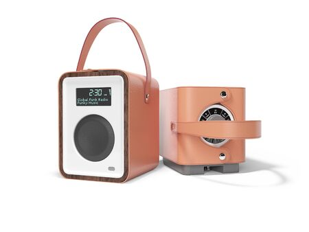 Brown portable radio speaker for listening to leather bound music 3D render on white background with shadow Imagens