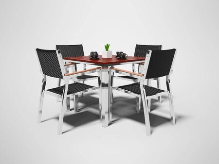Tables and high chairs isolated 3D render on gray background with shadow Imagens