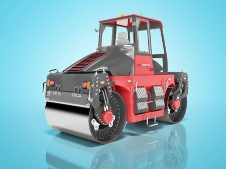 Construction machinery red road roller for asphalt isolated 3d render on blue background with shadow