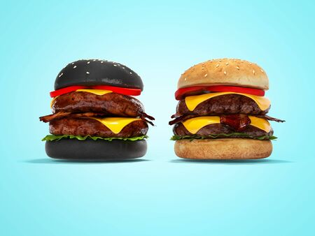 Black hamburger and white 3D hamburger render on blue background with shadow