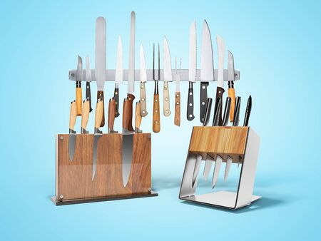 Three sets of kitchen knives 3d render on blue background with shadow Imagens