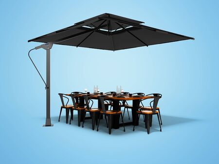 Concept umbrella for restaurant on side support with table and chairs 3d render on blue background with shadow