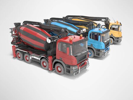 Construction machinery three mixers of car for transporting concrete 3D render on gray background with shadow Imagens