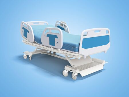 Blue hospital bed with lifting mechanism on standalone control panel isolated 3D render on blue background with shadow