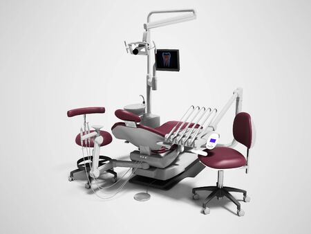 Dental unit red leather chair of dentist and assistants chair 3d render on gray background with shadow
