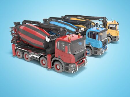 Construction machinery three mixers of car for transporting concrete 3D render on blue background with shadow Banco de Imagens