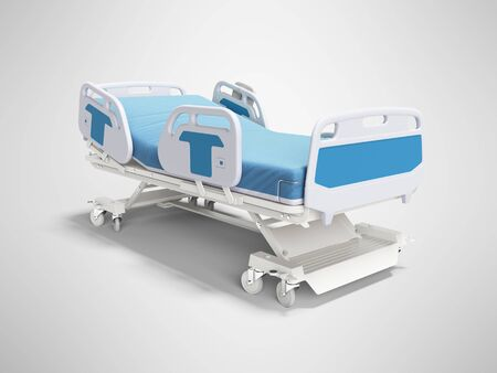 Blue hospital bed with lifting mechanism on standalone control panel isolated 3D render on gray background with shadow