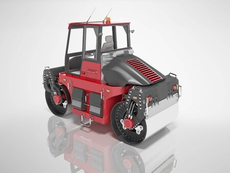 Construction machinery red road roller for asphalt paving 3d render on gray background with shadow