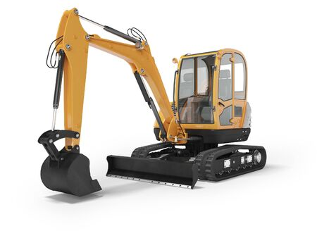 Orange mini excavator with hydraulic mechlopatoy on crawler rubber track with leveling bucket 3d render on white background with shadow Imagens
