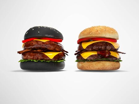 Black hamburger and white 3D hamburger render on gray background with shadow Stock Photo