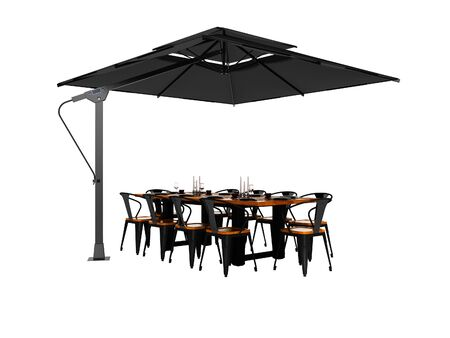 Concept umbrella for restaurant on side support with table and chairs 3d render on white background no shadow Imagens