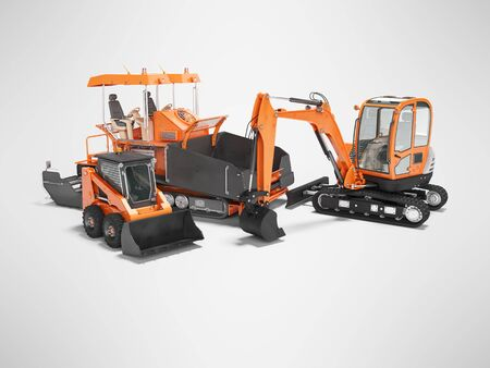 Concept orange construction equipment for laying asphalt 3d render on gray background with shadow