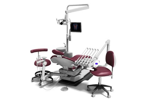 Dental unit red leather chair of dentist and assistants chair 3d render on white background with shadow