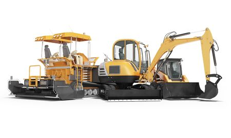 Concept road machinery paver excavator small loader 3d render on white background with shadow Imagens