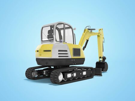 Yellow mini excavator with hydraulic mechpatoy on crawler with ladle 3d render on blue background with shadow