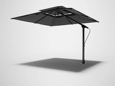 Professional beach umbrella for cafe right side view 3D render on gray background with shadow