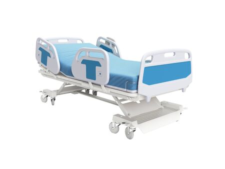 Blue hospital bed with lifting mechanism on standalone control panel isolated 3D render on white background no shadow