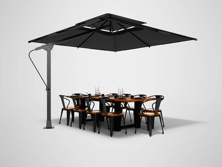Concept umbrella for restaurant on side support with table and chairs 3d render on gray background with shadow Imagens