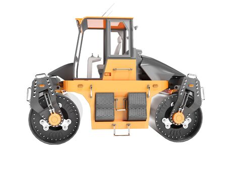 Construction machinery road roller two rolls side view 3D render on white background no shadow