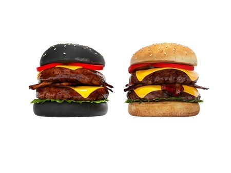Black hamburger and white 3D hamburger render on white background no shadow
