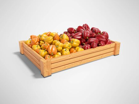 Concept sell set of yellow and red sweet peppers in wooden box rear render on gray background with shadow