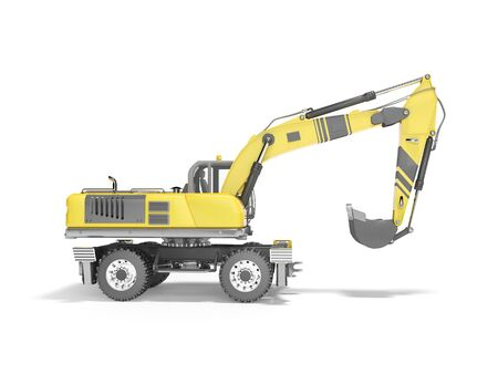 Concept full wheel excavator 3d render on white background with shadow