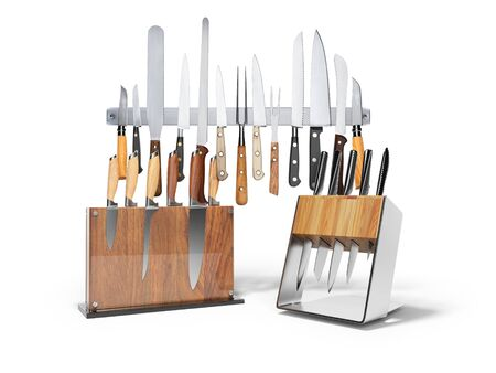 Three sets of kitchen knives 3d render on white background with shadow Zdjęcie Seryjne