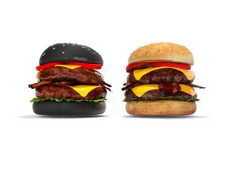Black hamburger and white 3D hamburger render on white background with shadow Stock Photo