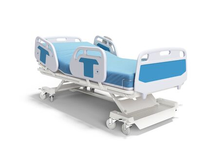 Blue hospital bed with lifting mechanism on standalone control panel isolated 3D render on white background with shadow