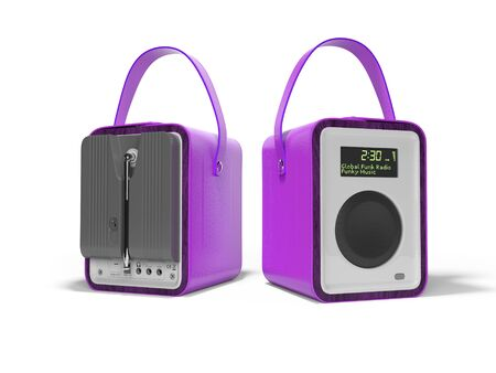 Purple portable radio column for listening to leather bound music 3D render on white background with shadow