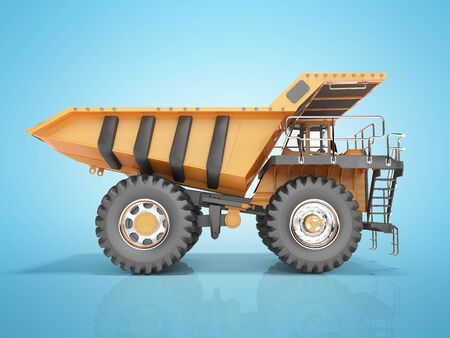 Concept orange dump truck 3D rendering on blue background with shadow