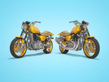 Concept orange two motorcycle front view rear render on blue background with shadow