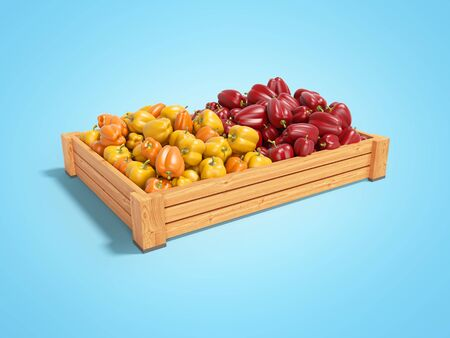 Concept sell set of yellow and red sweet peppers in wooden box rear render on blue background with shadow Imagens