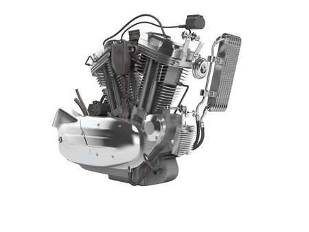 Concept motorcycle engine with radiator with gearbox 3d render on white background no shadow